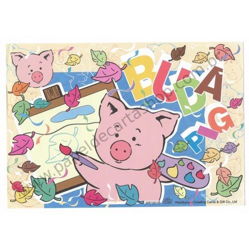 Conjunto de Papel de Carta Antigo (Vintage) Buda Pig AM Wealthyluck