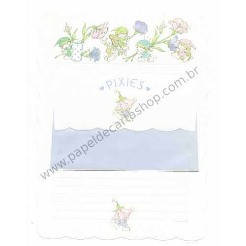 Conjunto de Papel de Carta Antigo (Vintage) Pixies Branco