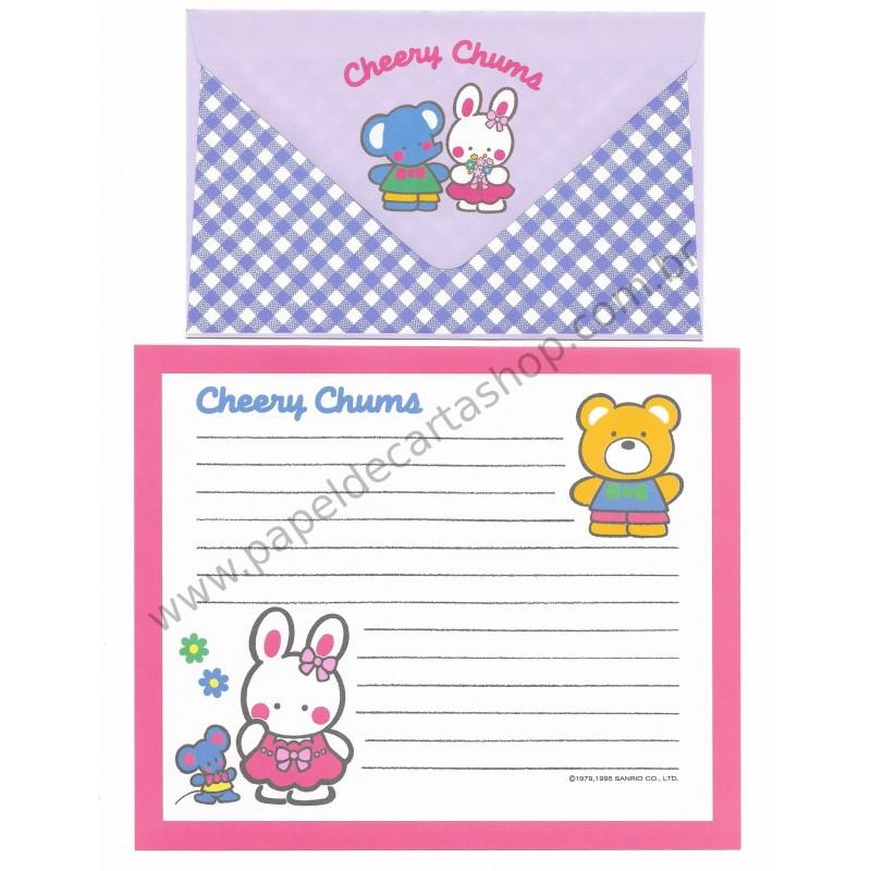 Ano 1995. Conjunto de Papel de Carta Cheery Chums CLL Antigo (Vintage) Sanrio