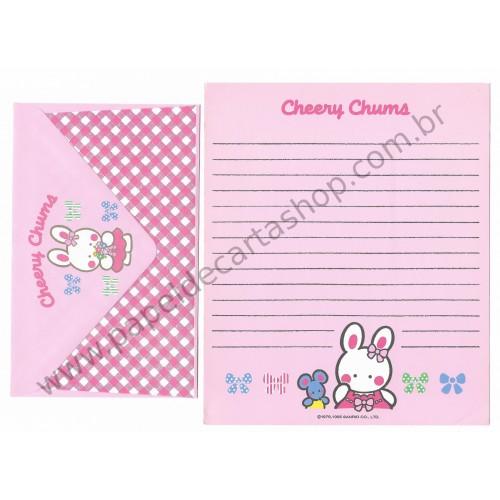 Ano 1995. Conjunto de Papel de Carta Cheery Chums CRS Antigo (Vintage) Sanrio