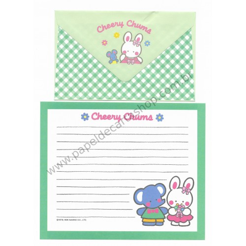 Ano 1995. Conjunto de Papel de Carta Cheery Chums CVD Antigo (Vintage) Sanrio
