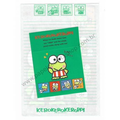 Ano 1990. Conjunto de Papel de Carta Keroppi CVD Vintage Sanrio