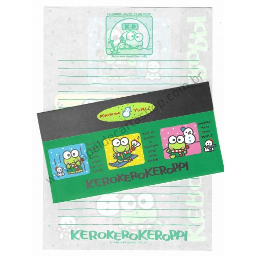 Ano 1989. Conjunto de Papel de Carta Keroppi Antigo (Vintage) Sanrio