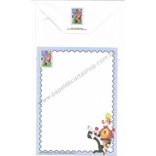 Conjunto de Papel de Carta Antigo Importado Looney Tunes 07