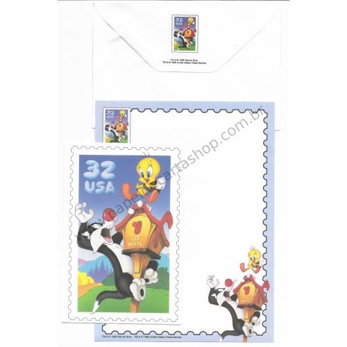 Conjunto de Papel de Carta & Notecard Antigo Importado Looney Tunes 07