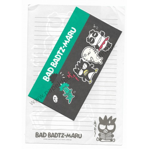 Ano 1995. Conjunto de Papel de Carta Badtz-Maru Antigo (Vintage) G Sanrio