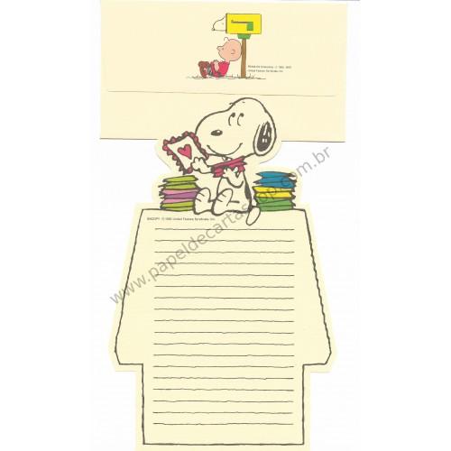 Conjunto de Papel de Carta Snoopy Love Letter to Charlie Brown Antigo (Vintage) - Peanuts