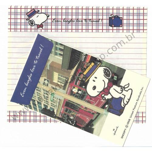 Conjunto de Papel de Carta Snoopy Loves to Travel Antigo (Vintage) - Peanuts