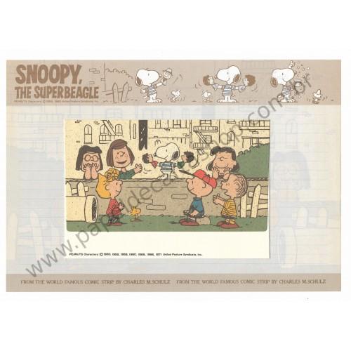 Conjunto de Papel de Carta Snoopy & Friends On the Street Antigo (Vintage) - Peanuts