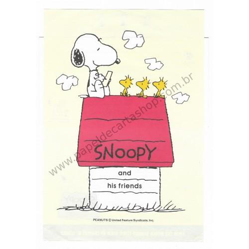 Conjunto de Papel de Carta Snoopy Jogo de Bilhar Antigo (Vintage) - Peanuts