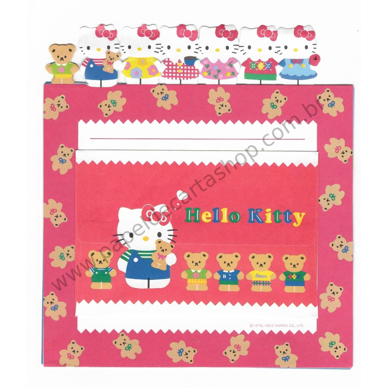 Ano 1993. Kit 3 Conjuntos de Papel de Carta Hello Kitty Antigo (Vintage) Sanrio