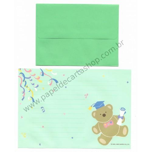Ano 1989. Conjunto de Papel de Carta Bear Tin Graduation Antigo (Vintage) Sanrio