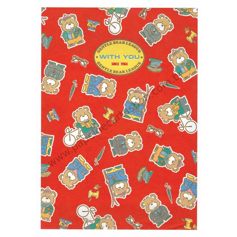 Ano 1984. Conjunto de Papel de Carta Gentle Bear League VM Sanrio