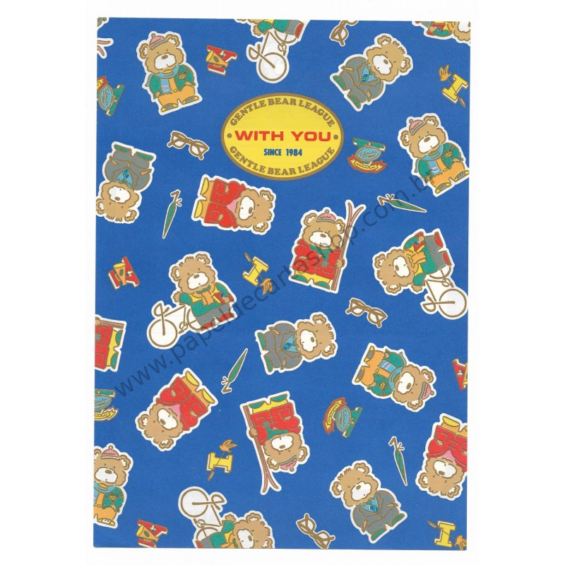 Ano 1984. Conjunto de Papel de Carta Gentle Bear League AZ Antigo (Vintage) Sanrio