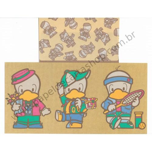 Ano 1984. Conjunto de Papel de Carta Qui-Quaks Vintage Sanrio