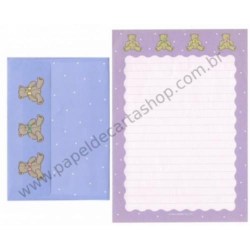 Ano 1988. Conjunto de Papel de Carta Tweedle Dee Dee Bear Antigo (Vintage) Sanrio