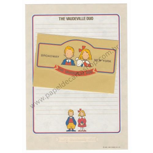 Ano 1984. Conjunto de Papel de Carta Vaudeville Duo Broadway New York Antigo (Vintage) Sanrio