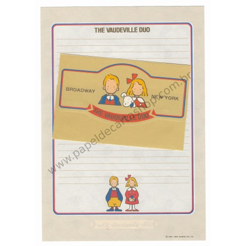 Ano 1984. Conjunto de Papel de Carta Vaudeville Duo Broadway New York Antigo (Vintage) Sanrio