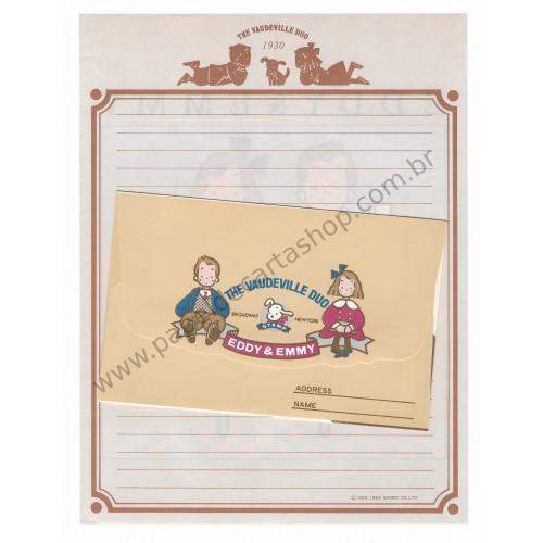 Ano 1984. Conjunto de Papel de Carta Vaudeville Duo Eddy & Emmy Antigo (Vintage) Sanrio