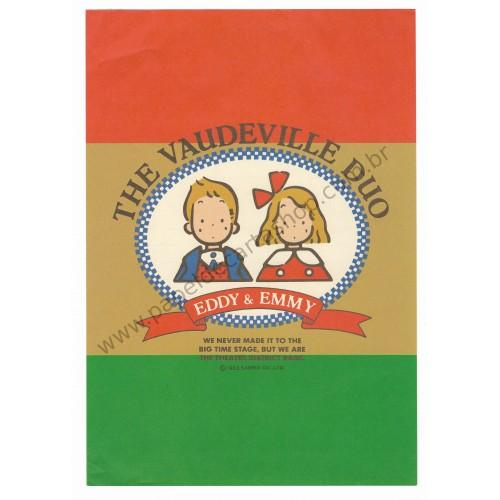 Ano 1983. Conjunto de Papel de Carta Vaudeville Duo Antigo (Vintage) Sanrio