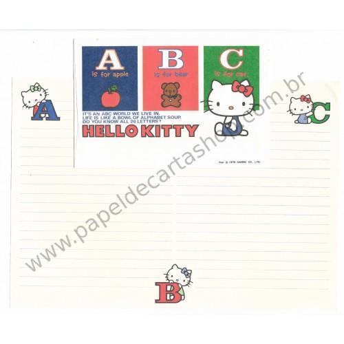 Ano 1976. Conjunto de Papel de Carta Hello Kitty ABC Antigo (Vintage) Sanrio