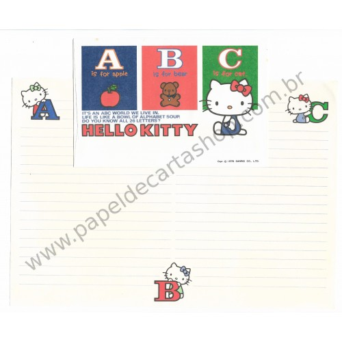 Ano 1976. Conjunto de Papel de Carta Hello Kitty ABC Antigo (Vintage) Sanrio