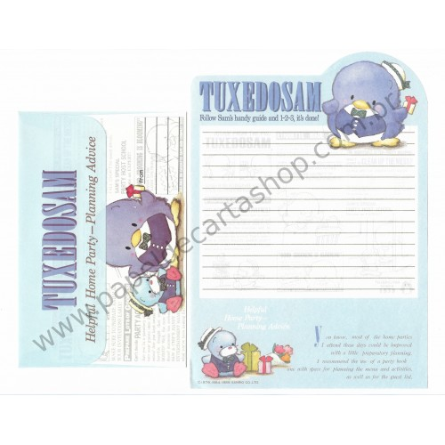 Ano 1984. Conjunto de Papel de Carta Tuxedosam CAZ Antigo (Vintage) Sanrio
