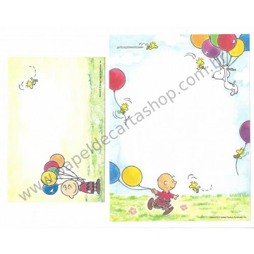 Conjunto de Papel de Carta Snoopy & Charlie Brown Ballons Antigo (Vintage) - Peanuts Hallmark