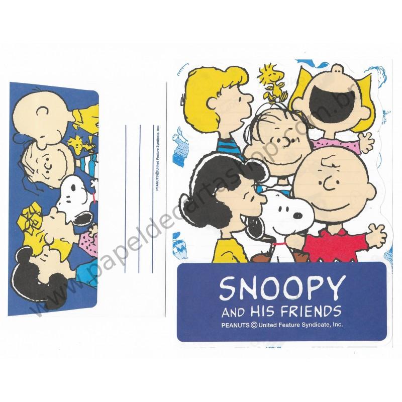 Conjunto de Papel de Carta Snoopy & His Friends AZ Antigo (Vintage) Hallmark - Peanuts