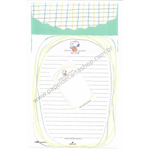 Conjunto de Papel de Carta Snoopy Verde Antigo (Vintage) - Peanuts Hallmark Denz