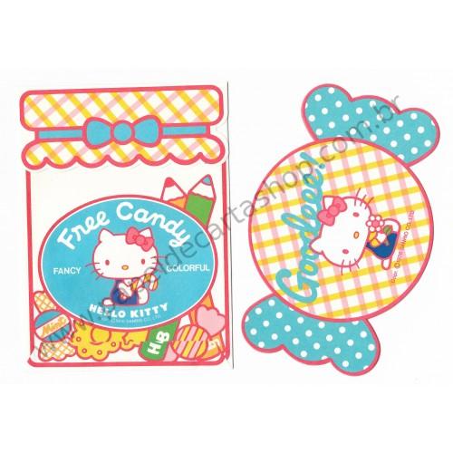 Ano 1976. Conjunto de Papel de Carta Hello Kitty Free Candy Antigo (Vintage) Sanrio