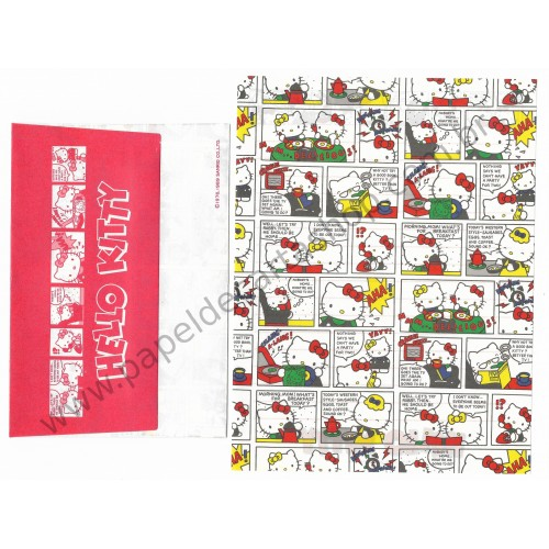 Ano 1989. Conjunto de Papel de Carta Hello Kitty HQ Antigo (Vintage) Sanrio