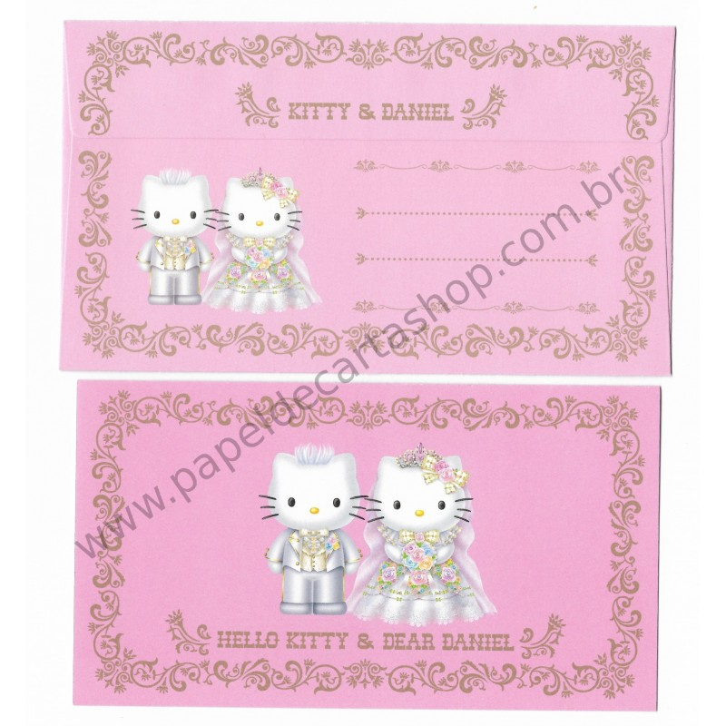Ano 2001. Conjunto de Papel de Carta Hello Kitty & Dear Daniel Wedding Invitation II