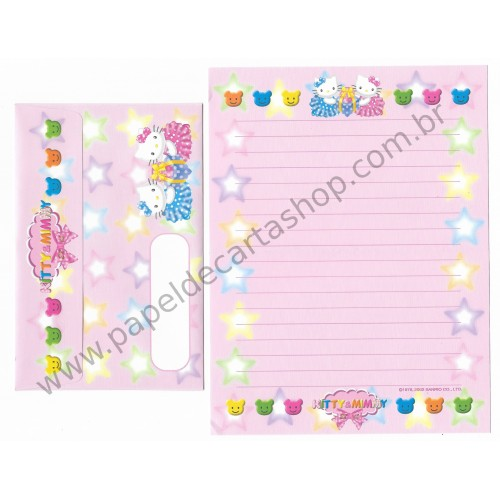 Ano 2002. Conjunto de Papel de Carta Hello Kitty 28th Anniversary Sanrio