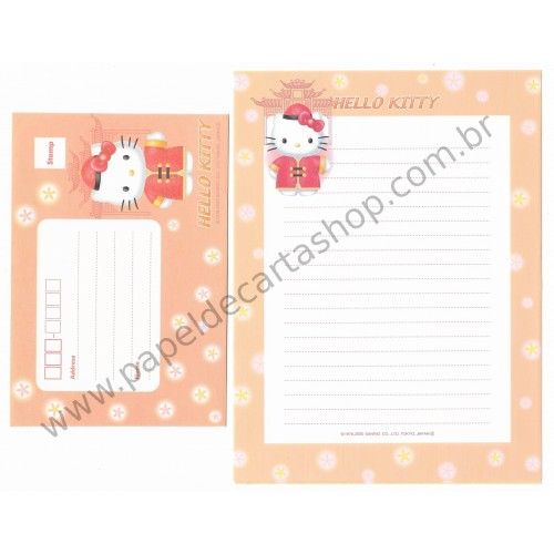 Ano 2000. Conjunto de Papel de Carta Hello Kitty F2 Sanrio