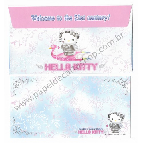 Ano 2000. Conjunto de Papel de Carta Hello Kitty Welcome to 21st Century Sanrio