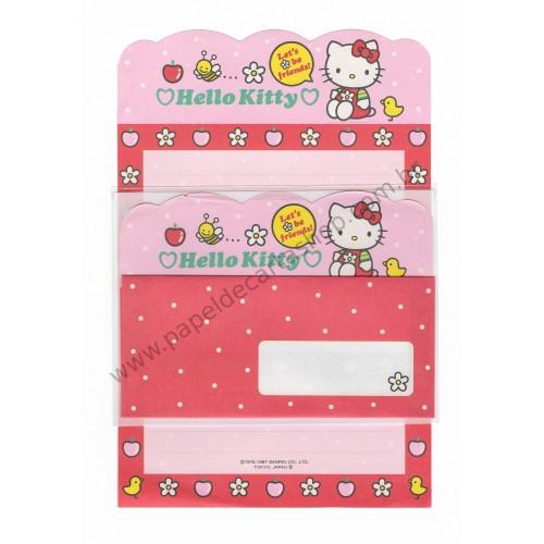 Ano 1997. Conjunto de Papel de Carta Hello Kitty3 Antigo (Vintage) Sanrio