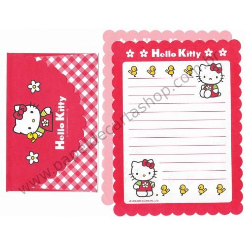 Ano 1999. Conjunto de Papel de Carta Hello Kitty Dupla VM & R Antigo (Vintage) Sanrio