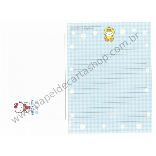 Ano 1999. Conjunto de Papel de Carta Hello Kitty Dress Up Antigo (Vintage) Sanrio