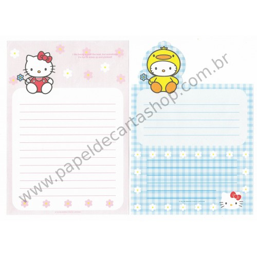Ano 1999. Conjunto de Papel de Carta Hello Kitty Dress Dupla Up Antigo (Vintage) Sanrio
