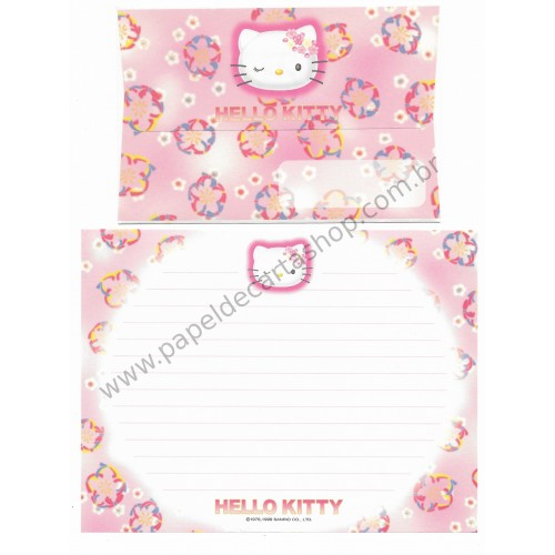 Ano 1999. Conjunto de Papel de Carta Hello Kitty Wink RS Antigo (Vintage) Sanrio