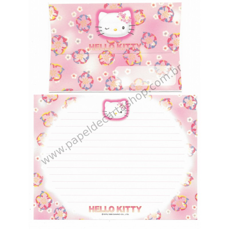 Ano 1999. Conjunto de Papel de Carta Hello Kitty Wink RS Antigo (Vintage) Sanrio
