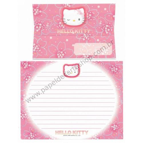 Ano 1999. Conjunto de Papel de Carta Hello Kitty Wink VM Antigo (Vintage) Sanrio