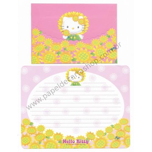Ano 2000. Conjunto de Papel de Carta Hello Kitty Sunflower Antigo (Vintage) Sanrio