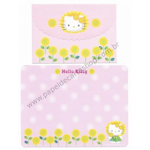 Ano 2000. Conjunto de Papel de Carta Hello Kitty Sunflower2 Antigo (Vintage) Sanrio