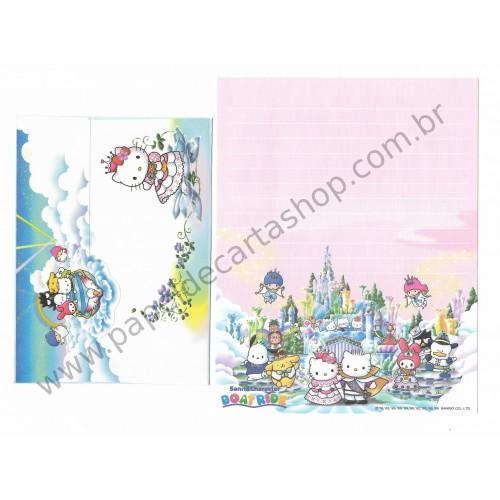 Ano 1999. Conjunto de Papel de Carta Hello Kitty Boatride Antigo (Vintage) Sanrio Puroland