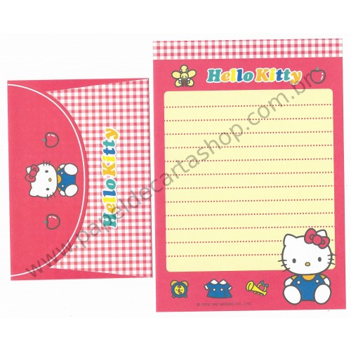 Ano 1997. Conjunto de Papel de Carta Hello Kitty Toys Antigo (Vintage) Sanrio