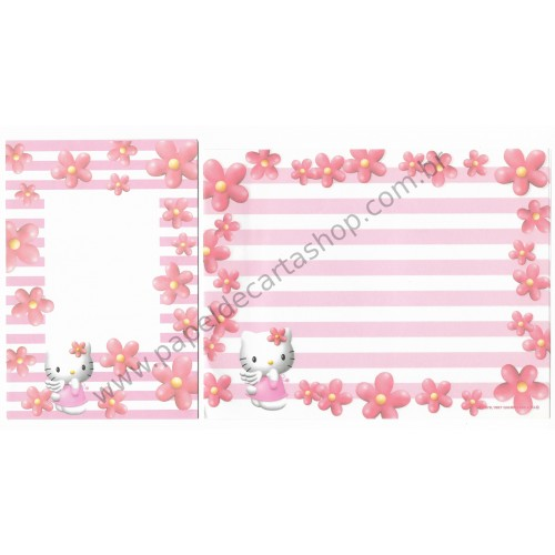 Ano 1997. Conjunto de Papel de Carta Hello Kitty Flores2 Antigo (Vintage) Sanrio