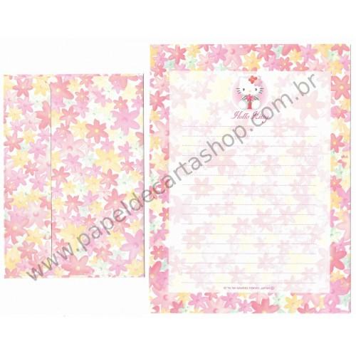 Ano 1999. Conjunto de Papel de Carta Hello Kitty Flores Antigo (Vintage) Sanrio