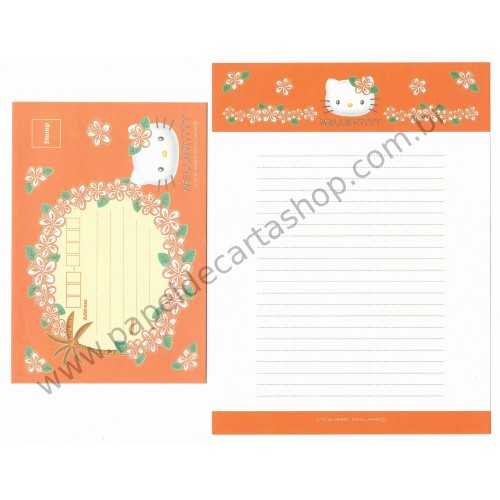 Ano 1999. Conjunto de Papel de Carta Hello Kitty Flores LJ Antigo (Vintage) Sanrio